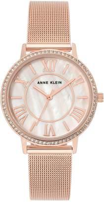 Anne Klein Rose Goldtone Stainless Steel Crystal Bracelet Watch