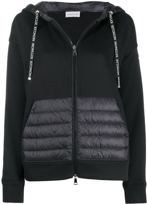 Moncler Zip Up Padded Detail Hoodie