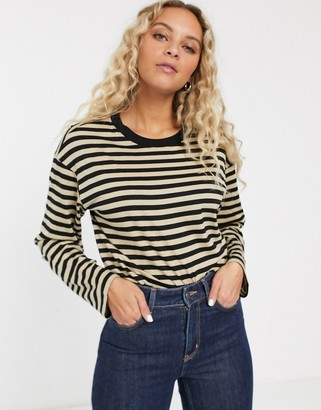 Monki striped long sleeve top in beige and black