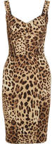 Dolce & Gabbana Paneled Leopard-print Silk-blend Cady Dress - Brown