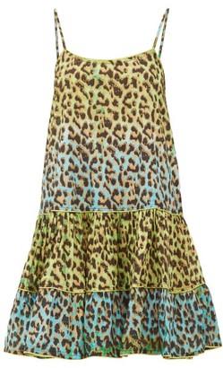 Juliet Dunn Leopard-print Ruffled-hem Cotton Dress - Green Print