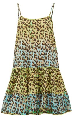 Juliet Dunn Leopard Print Ruffled Hem Cotton Dress - Womens - Green Print