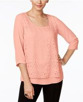 NY Collection Eyelet-Overlay Top