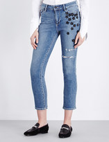 Paige Jacqueline star embellished high-rise stretch-denim jeans