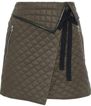 Rag & Bone Jane Leather-trimmed Quilted Twill Mini Wrap Skirt