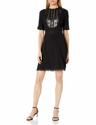 The Kooples Women's Leather Detailing Structured Dress
