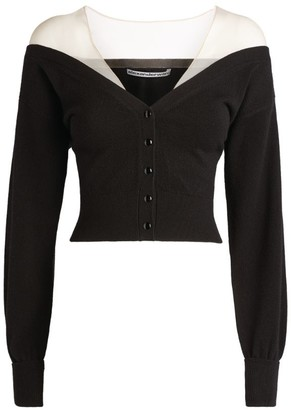 Alexander Wang Sheer Yoke Crop Cardigan
