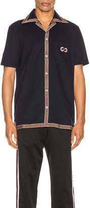 Gucci Cotton Polo With GG Embroidery in Navy & Multi | FWRD