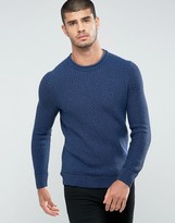 BOSS ORANGE by Hugo Boss Kindpaul Textured Knitted Sweater in Blue