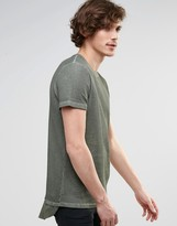 Asos Super Longline T-shirt In Waffle Oil Wash With Curved Back Hem In Green