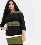 Paper Dolls Plus stripe belted midi dress in olive and black
