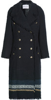 Sonia Rykiel Striped Bouclé-tweed Coat - Navy