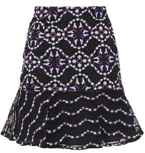Sandro Fluted Embroidered Guipure Lace Mini Skirt