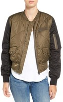 Members Only Women's Quilted Two-Tone Bomber Jacket