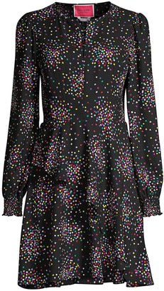 Kate Spade Confetti-Print Smocked Shirtdress