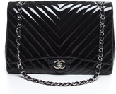 Chanel Black Patent Leather Chevron Maxi Flap Bag