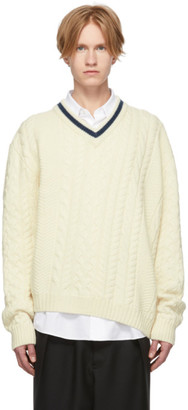 Lanvin Off-White Wool and Alpaca V-Neck Sweater