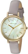 Karen Millen Women's Quartz Brass-Plated-Stainless-Steel and Leather Dress Watch, Color:Pastel Purple (Model: KM126VG)