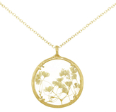 Catherine Weitzman 18ct Gold Plated Large Gypsophila Round Pendant Necklace, Gold/White