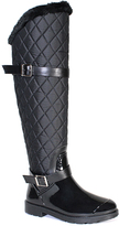Bamboo Black Quilted Stormy Rain Boot