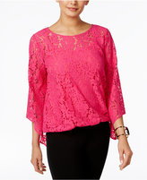 Alfani Petite Lace Bubble Top, Only At Macy's