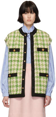 Gucci Green and Beige Tweed Button Vest