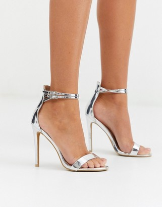 Glamorous barely there heeled sandals in silver mirror