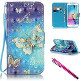 Galaxy S6 edge Case, Firefish Kickstand Card Slots Cash Holder Dual Layer Impact Resistant Case Cover with Wrist Strap Magnetic Snap Closure for Samsung Galaxy S6 edge-Butterfly