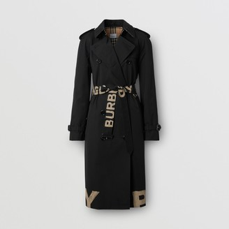 Burberry Logo Print Cotton Gabardine Trench Coat