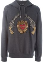 Dolce & Gabbana Sacred Heart gun patch hoodie - men - Cotton/Ramie/Acrylic/glass - 48
