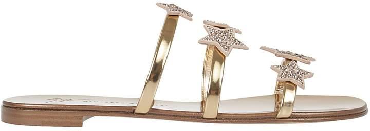 Giuseppe Zanotti Metallic Star Flat Sandals