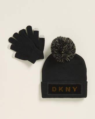 DKNY Girls 7-16) Black Reversible Sequin Pom Beanie & Gloves Set
