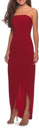 La Femme Strapless High-Low Jersey Gown with Faux-Wrap Skirt