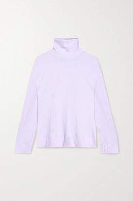 Leset Alison Oversized Ribbed Stretch-knit Turtleneck Sweater - Lavender