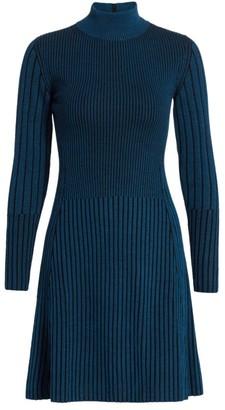 Akris Punto Striped Turtleneck Wool Dress