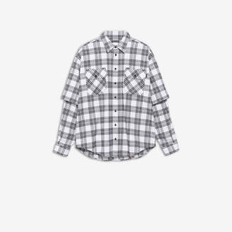 Balenciaga Double Sleeve Shirt in white and black checked stretch cotton flannel