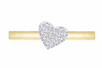 Aria Jewels Pave Diamond Heart Stackable Promise Ring in 14K Yellow Gold Over Sterling silver (0.08 cttw) Ring Size - 6