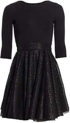 Maje Romy Combo Fit-&-Flare Dress