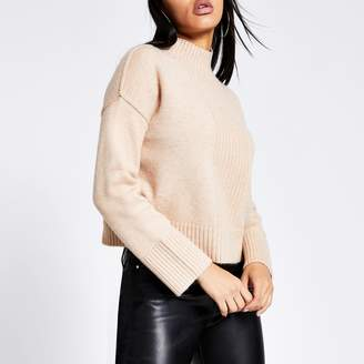 River Island Womens Beige high neck cropped knitted jumper