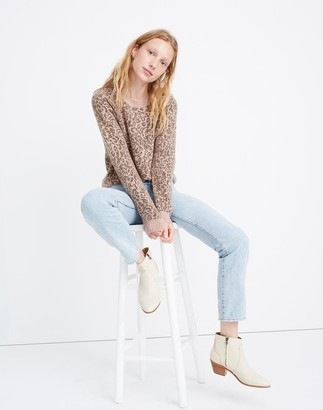 Madewell Shrunken Pullover Sweater in Leopard