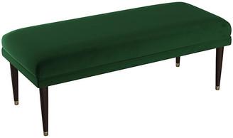 One Kings Lane Alameda Bench - Emerald Velvet