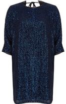 River Island Womens Navy embellished swing T-shirt dress