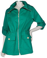 As Is Susan Graver Cotton Anorak Jacket with Roll Tab Sleeves