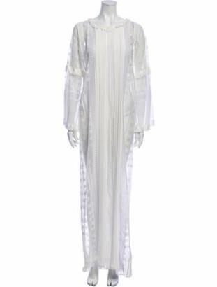 Oscar de la Renta Scoop Neck Long Dress White