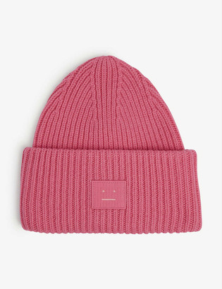 Acne Studios Face-patch knitted wool beanie