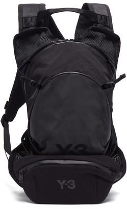 Y-3 Logo-print Canvas Backpack - Dark Grey