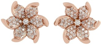 Artisan Flower Studs With Pave Diamonds - In 18K Rose Gold