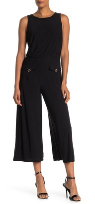MSK Front Button Sleeveless Jumpsuit