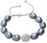 Charter Club Silver-Tone Imitation Pearl Pavé Adjustable Bracelet, Only at Macy's