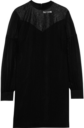 Derek Lam 10 Crosby Lace-paneled Georgette Mini Dress